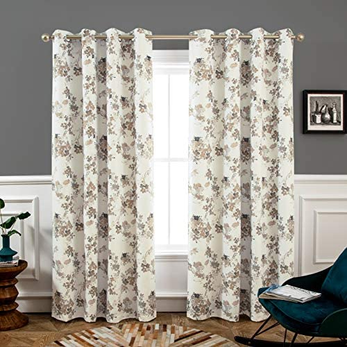 DriftAway Watercolor Abstract Floral Lined Thermal Insulated Blackout Window Curtain Grommet 2 Panels Each 52 Inch by 84 Inch Beige