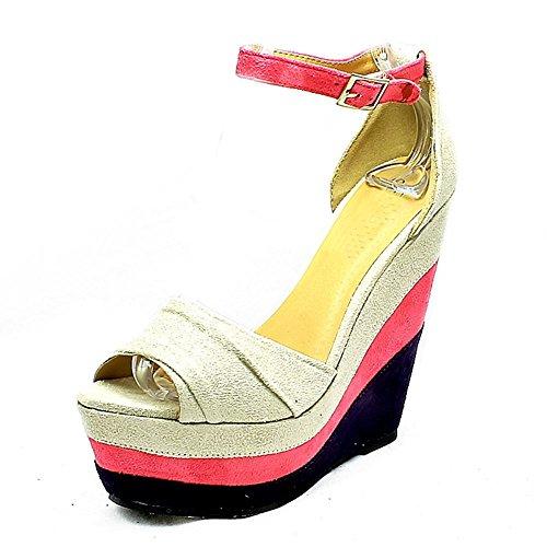 Ladies layered Wedge heel platform shoes Beige 2kPCkrY8I