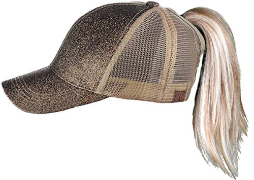 H-209-07 Messy Bun Ponytail Hat - Glitter (Macchiato)]()