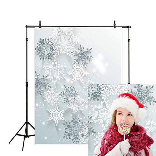 Allenjoy 5x7ft Winter Backdrop Snowflakes Three-Dimensional ice Crystal Photography Backdrop for Baby Shower Photo Studio Props -
