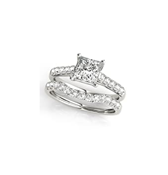 2.00 Carat Round Cut Diamond Engagement Rings Solid Silver Band Set Size M N J K Fine Jewelry