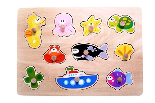 Classic Ocean Sea Animals Wooden Peg Puzzle for Toddlers, Preschool Age w/Colorful Wood Knob Pieces Fish, Whale, Turtle, Seahorse, Boat. Simple Educational & Sensory Learning for 1, 2 & 3 Year Olds