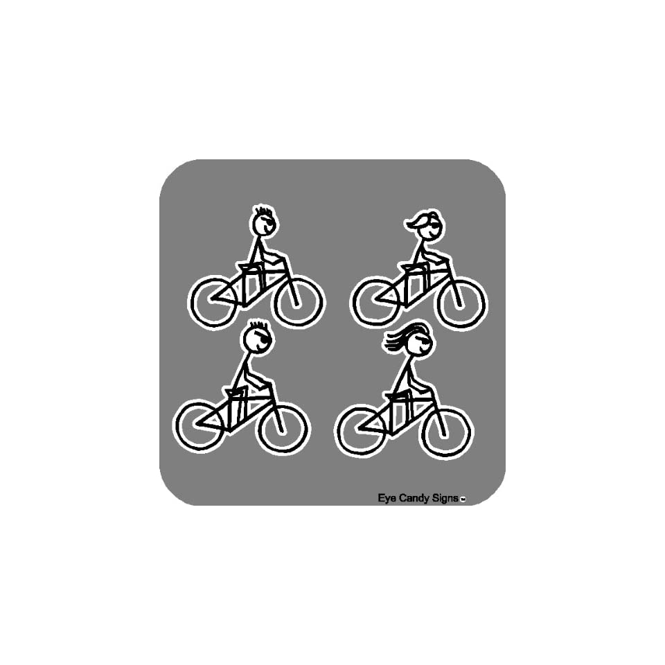 Biking Family Stick People Car Decals Stickers Graphics