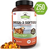 Cheap Omega 3 Fish Oil for Dogs, 250 Softgel Pills, 1000 mg EPA DHA Dog Fish Oil Pet Supplement for Joint Support Arthritis Pain Relief, Allergy Itch, Shedding, Healthy Coat, Dry Itching Skin, Hot Spot, USA
