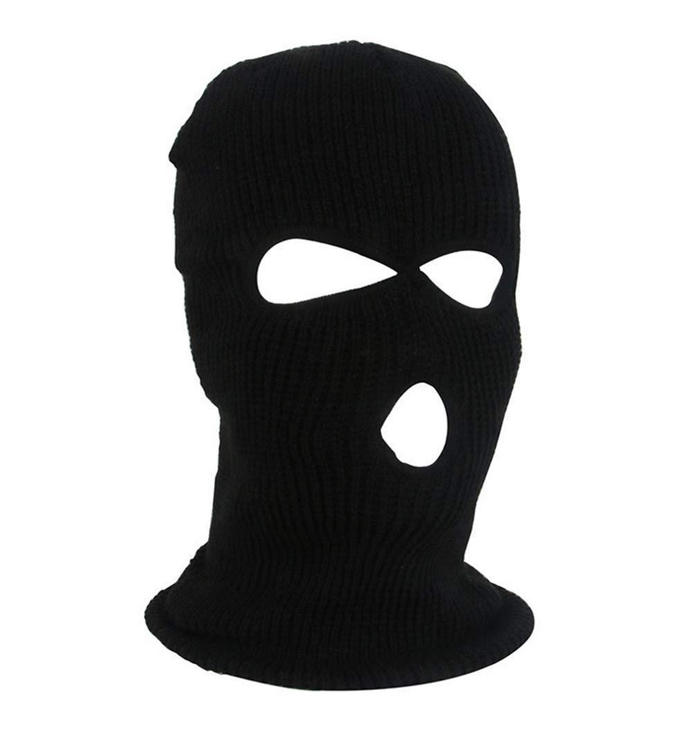Knit Sew Outdoor Full Face Cover Open eye Ski Mask (black)