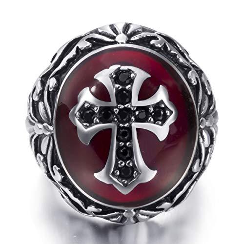 (Elfasio Men Stainless Steel Rings CZ Black Red Cross Knight Fleur De Lis Oval Vintage Jewelry Size 11)