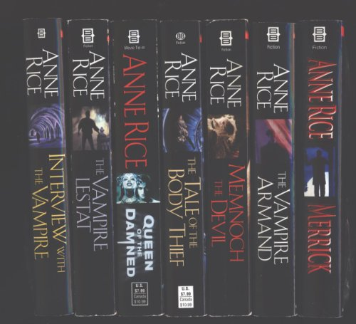 Anne Rice 7 Book Set ''Interview with the Vampire'', ''The Vampire Lestat'', ''Queen of the Damned'', ''The Tale of the Body Thief'', ''Memnoch the Devil'', ''The Vampire Armand'' and ''Merrick'' (Vampire Chronicles) by Ballantine