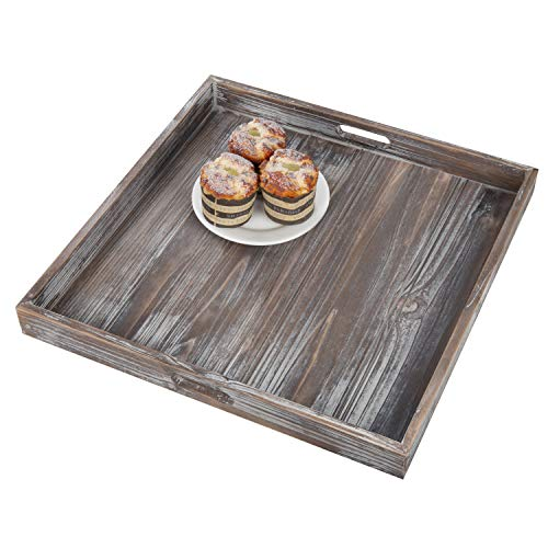 MyGift 19-Inch Square Rustic Torched Wood Ottoman Tray (Ottoman Wood)