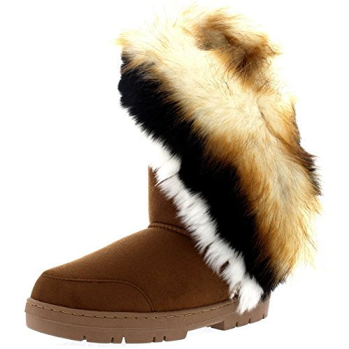 Womens Tall Tassel Winter Cold Weather Snow Rain Boots - 7 - TAN38 EA0398