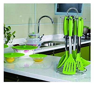 Kuke 6 Piece Kitchen Utensil Set,Heat Resistant Silicone Stainless Steel Cooking Tools,BPA Free Nylon Cookware Gadgets,Dishwasher Safe(Green)
