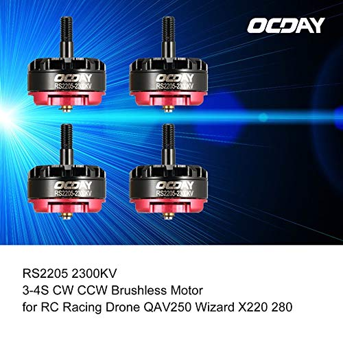 Wikiwand 4pcs OCDAY RS2205 2300KV 3-4S CW CCW Brushless Motor for RC Racing Drone by Wikiwand (Image #1)