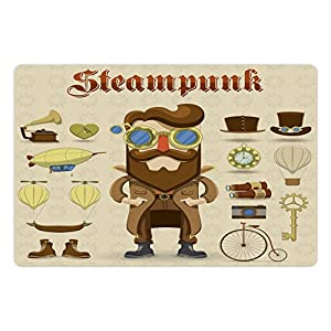 Ambesonne Steampunk Pet Mat for Food and Water, Cartoon Style Male Character and Vintage Mechanical Elements Hipster Gentleman, Rectangle Non-Slip Rubber Mat for Dogs and Cats, Multicolor