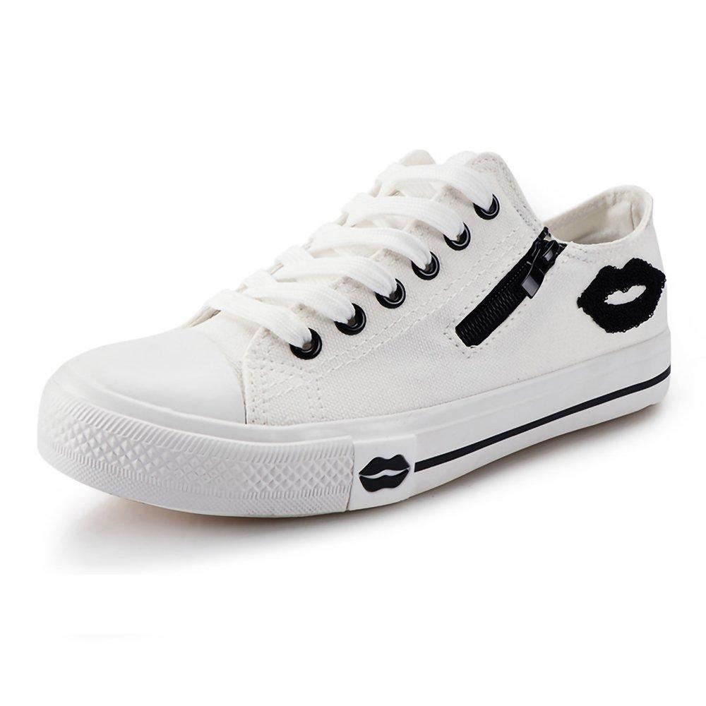 Designer Summer Women Sneakers Lips Casual Canvas Shoes for Female Flats (Women's 7 / EU 38, White)