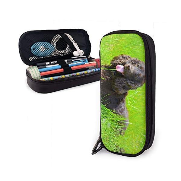 Irish Water Spaniel Leather Pencil Case Zipper Pen Bag Box Holder Students Pencils Highlighters Pencil 1