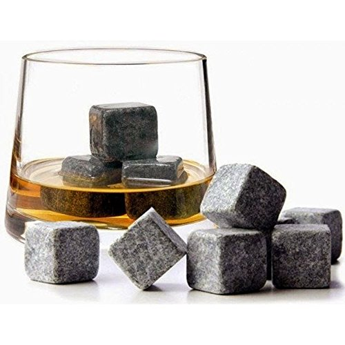 9 Whisky Ice Natural Stones Drinks Cooler Cubes Whiskey Scotch on the Rocks Granite Whiskey Soapstones Luxury Drinking Barware Wedding Gift Favor Christmas Bar EC-76 by EConcept