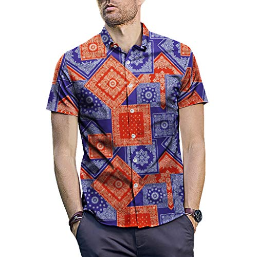 Men's Beach Shirts Stripe Printed Short Sleeved Shirt Turn Down Collar Blouse Top (XL, Multi Color) ()