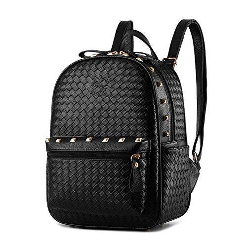 3df32ca3f2c20 Fashion Leather Backpack For Women Rivet Bag Ladies Leisure Backpack  Schoolbag Travel Bag for Girls Black  Amazon.ae  WBaby