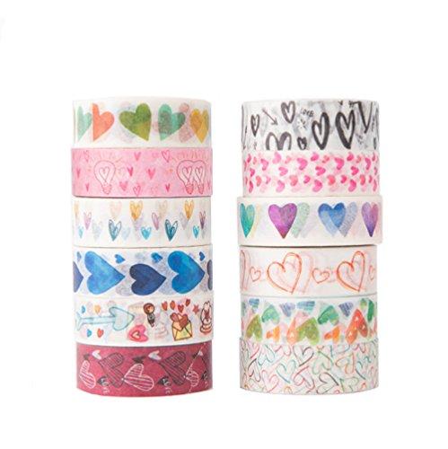 Love Heart Cute Cartoon Washi Tape Set of 12 Rolls - Planner Decorative DIY Japanese Masking StickyWashi Tape Set(Width: 15mm)
