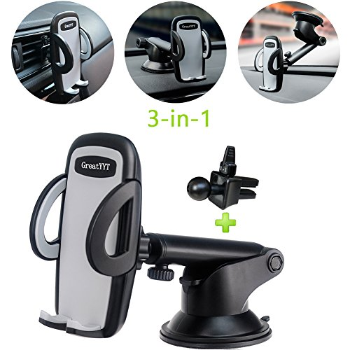 GreatYYT 3-in-1 Car Phone Mount, Air Vent & Dashboard & Windscreen Car Phone Mount Holder for iPhone X 8 8Plus 7 7Plus 6 6s 6Plus 5s Samsung Galaxy S8 S7 S6 note 8 7 LG Nexus Sony Nokia GPS etc -