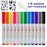 Fabric Markers,Happlee Fabric Paint Pens Permanent 12 Colors for T-Shirts Clothes with 2 Stencils Set and 1 Roll Invisible Tape