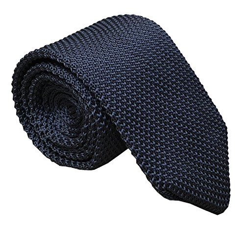 Mens Classic Dark Grey Knit Ties Vintage Woven Casual Stylish Necktie for Gift by Kihatwin