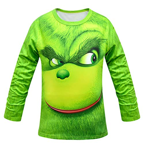 Shancon 2018 The Grinch Cosplay Long Sleeve T-Shirts Green Polyester Christmas Costume for Children Size -