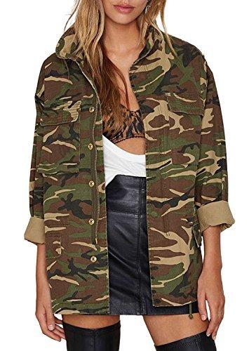 - Richkoko Women Casual V Neck Pockets Zipper Button Boyfriend Camo Jacket(XXL,Green)