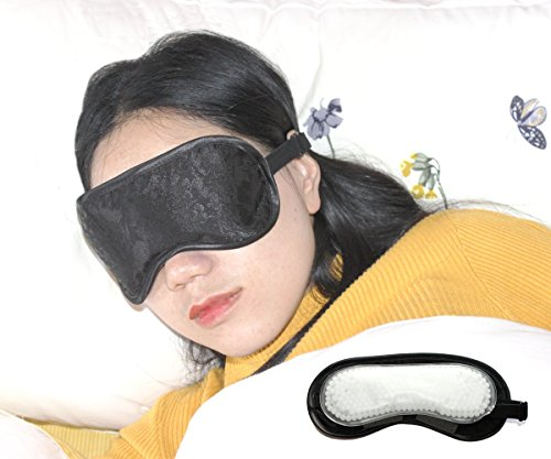 Sleeping Eye mask with Beads ice Pack Insert for Puffy&Dark Circle,Adjustable Strap for Men,Women,Girls and Kids,Unisex Black Sleep (Puffy Inserts)