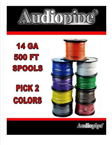 Two rolls 14 GA 500' Audiopipe Car Audio Home Primary Remote PICK COLORS (500' Lead Wire)