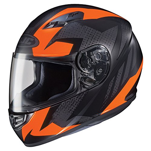 HJC Helmets CS-R3 Unisex-Adult Full Face Treague Motorcycle Helmet (Black/Orange, Large) ()