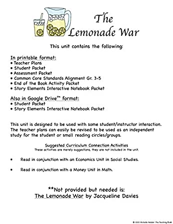 Amazon.com : The Lemonade War Novel Study Unit CD : Teachers ...