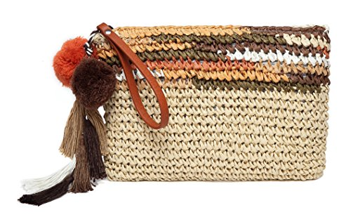 Daisy Rose Colorful Clutch- Straw Handbag with Vegan Leather Handles and Pom Poms- Brown Multi ()