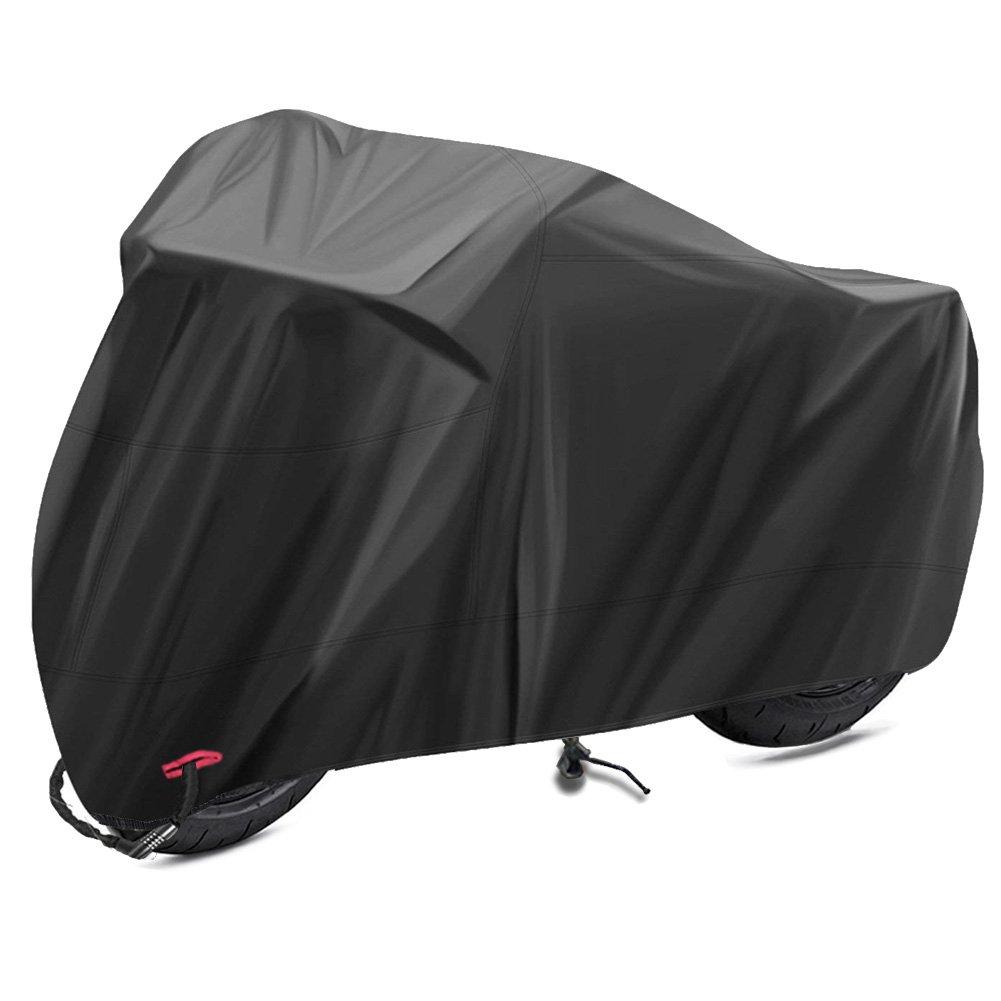Telo Coprimoto Impermeabile,Lookka 190T Moto Copri con lock-hole e Sacca per il Trasporto, anti-dust,anti-UV,anti-Pioggia for indoor outdoor use(Extra Large 265cm)