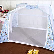 Sealive Baby Kid Infant Nursery Bed Crib Mosquito Net Netting Play Tent House Crib Bed Zippered Mosquito Net Tent Playhouse Yurt with Stand (Blue)