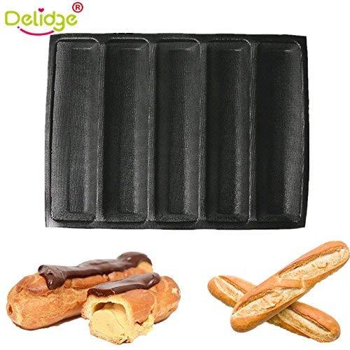 Delidge (5 Loaf, Black) Non Stick Baking Liners Mat Bread Mould Silicone Fiberglass Bread Mould Form Silicone Baguette French Bread Form Subway Bread Mould