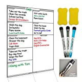"""Dry Erase Board Magnetic Whiteboard for Fridge by Nardo Visgo with 3 Magnetic Markers and 2 Erasers,Message Note Board for Meal Planning Chores to do list and Grocery List 16""""X11.4"""" Grey"""