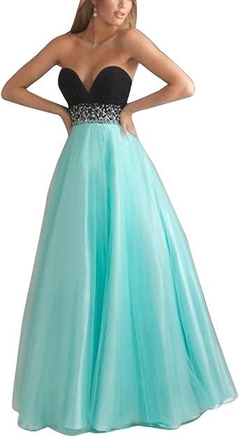 robe longue bustier noir et turquois