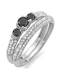 0.85 Carat (ctw) 10k White Gold Round Black And White Diamond 3 Stone Ladies Bridal Engagement Ring Set
