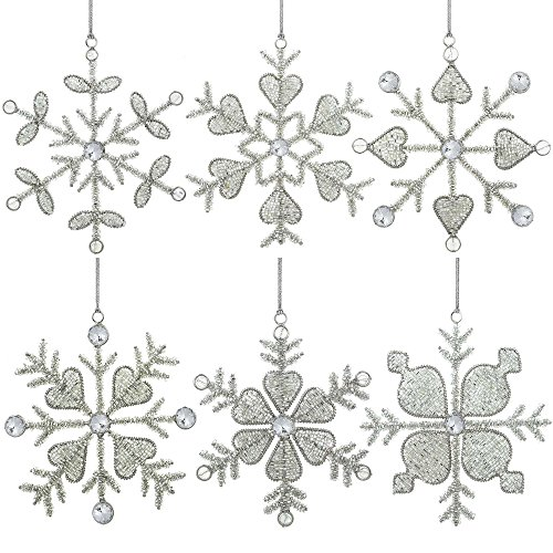 Set of 6 Handmade Snowflake Iron and Glass Pendant Christmas Ornaments, 6 Inches - Silver Glass Ornament Tree Topper