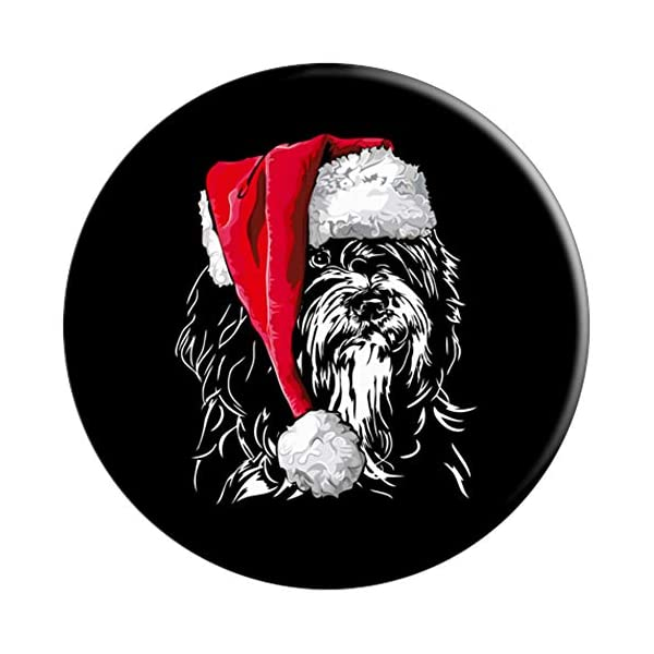 Funny Tibetan Terrier Santa Christmas dog mom gift present PopSockets Grip and Stand for Phones and Tablets 3