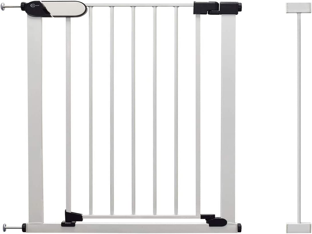 Callowesse/® Kemble Pressure Fit Safety Gate Suitable as Baby Gate /& Pet Gate White 82-103cm with Included 21cm Extension Red//Green Safety Locking Indicators.
