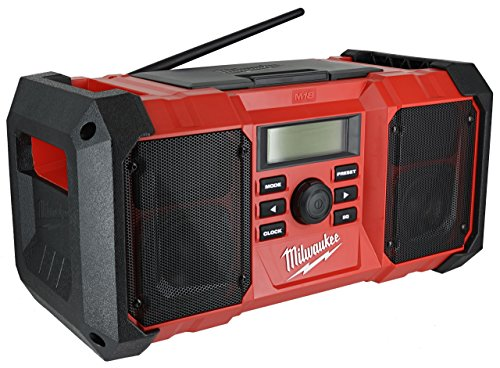 Milwaukee 2890-20 18V Dual Chemistry M18 Jobsite Radio with Shock Absorbing End Caps, USB 2.1A Smartphone Charging, and 3.5mm Aux (18 Volt Radio)