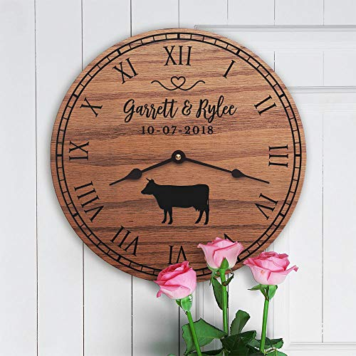 Vi457ad Personalized Cow Decor Gift Cute Cow Decor Gift for Couple with Cows Farm Decor Ranch Decor Cowboy Wedding Gift for Cow Lover Clock Only 12