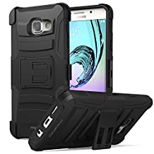 Galaxy A5 Case, MoKo Shock Absorbing Hard Cover Ultra Protective Heavy Duty Case with Holster Belt Clip + Built-in Kickstand for Samsung Galaxy A5 SM-A510F (2016) - Black (NOT FIT Galaxy A5 2015)