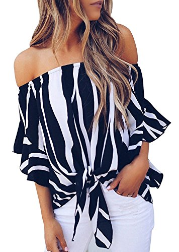 Ruffle Front Top - Fronage Women's Striped Bell Short Sleeve Off Shoulder Blouse Front Tie Knot Chiffon Shirts Tops