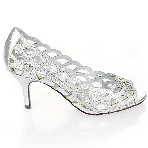 Aarz señoras de las mujeres del alto talón del dedo del pie del pío de Banquete de boda de la tarde Diamante calzan el tamaño (oro, plata, champán, Negro) Plata