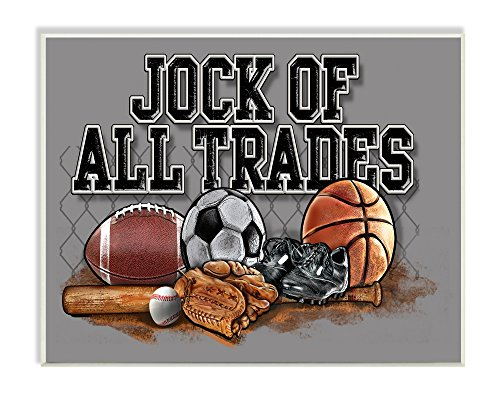 The Kids Room by Stupell Art, Jock of All Trades Sports Balls Wall Plaque 13 x 19