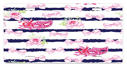 Masquerade License Plate by Lunarable, Venetian Style Carnival Masks on Stripes with Satin Bows Roses Flowers, High Gloss Aluminum Novelty Plate, 5.88 L X 11.88 W Inches, Pink White (Carnival Bow)