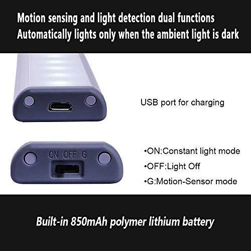 Otinlai Under Cabinet Lights,10 LED Motion Sensor Lights, Night Light,Led Battery Lights,Motion Led Light Bar, USB Rechargeable Magnet LED Lights Stick on Anywhere (Silver Warm 3 Pack)