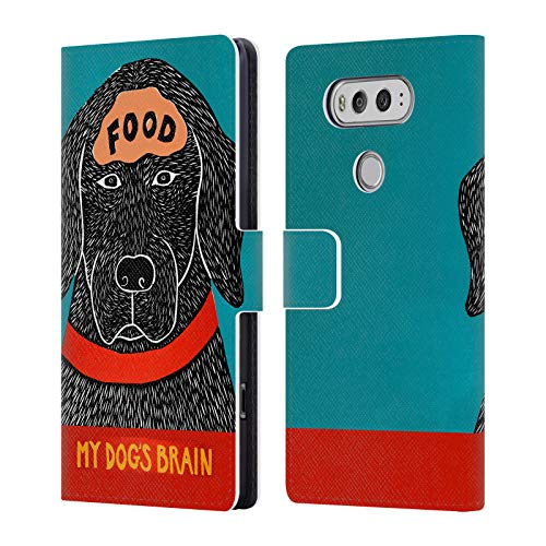 Dog Leather Treats - Official Stephen Huneck My Brain Dog Treats Leather Book Wallet Case Cover for LG V20
